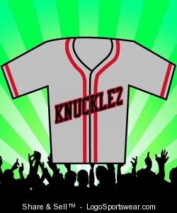 SLIVER/RED KNUCKLEZ BASEBALL JERSEY Design Zoom
